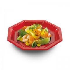 Assiette plastique octogonale rouge 24 cm - par 400