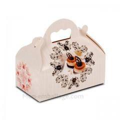 Boîte pâtissière avec poignée 10 x 18 x 7 cm décor BAROQUE- par 50