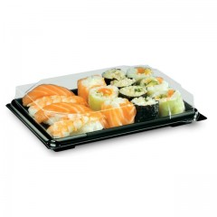 Boîte noire pour sushi FORMIPACK 19,4 x 13,9 cm avec couvercle - par 300