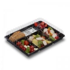 Plateau repas froid noir 5 compartiments 22,4 x 29 cm - par 200