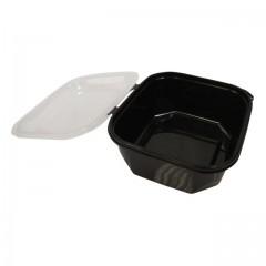 Barquette plastique PP noir 750 ml avec couvercle - par 48