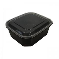 Barquette plastique PP noir 1000ml avec couvercle - par 50