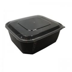 Barquette plastique PP noir 370 ml avec couvercle - par 80