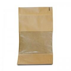 Sachet zip kraft brun avec fenêtre 16 x 8 x 27 cm - par 100