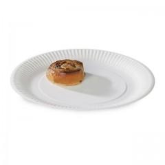 Assiette ronde blanche Ø 18 cm biodégradable - par 100