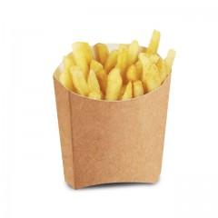Petit étui à frites kraft brun en carton