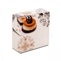 Boîte pâtissière 18 x 18 x 8 cm décor BAROQUE - par 50