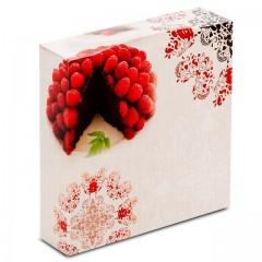 Boîte pâtissière 18 x 18 x 5 cm décor BAROQUE - par 50