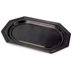 Plat de présentation octogonal noir 35 x 25 cm - par 10
