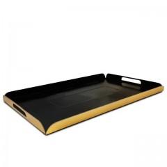 Plateaux traiteur pliés intérieur noir / extérieur or 19 x 28 cm - par 25