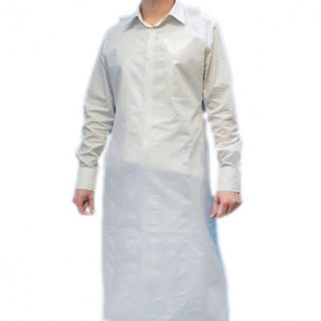 Tablier épais blanc en polyéthylène 100 microns - par 25