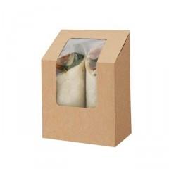 Boite tortilla et wrap kraft brun avec fenêtre - par 1000