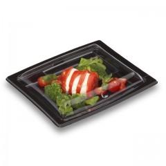 Boîte noire pour sushi 21,5 x 17 cm avec couvercle - par 25