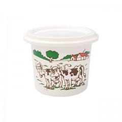 """Pot plastique blanc """"crème fraîche"""" avec couvercle 125 ml - par 250"""