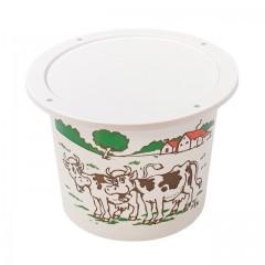 """Pot plastique PP blanc """"crème fraîche"""" avec couvercle 500 ml - par 250"""