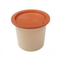 Pot plastique grès avec couvercle marron 250 ml - par 250
