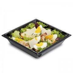 Boite plastique à salade FRESHIPACK noire 850 ml avec couvercle - par 240