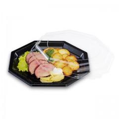 Assiette plastique octogonale noire 24 cm - par 50