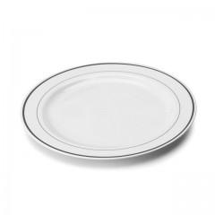 Assiette Mozaik 15 cm blanche avec liseré argent - par 20
