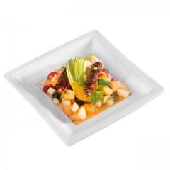 Assiette carrée blanche 24 cm en plastique - par 50