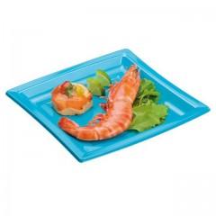 Assiette carrée turquoise 18,5 cm en plastique - par 50