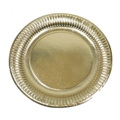 Assiette ronde en carton or diamètre 18,5 cm - paquet de 50