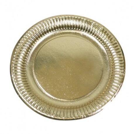 Assiette ronde en carton or diamètre 9,5 cm - paquet de 50