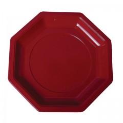 Assiette plastique octogonale 24 cm bordeaux - par 400