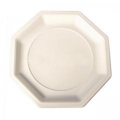 Assiette plastique octogonale 24 cm ivoire - par 400