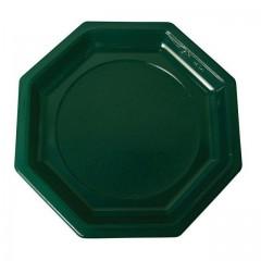 Assiette plastique octogonale 18,5 cm verte foncée - par 400