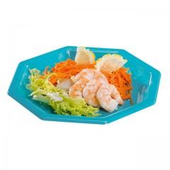 Assiette plastique octogonale turquoise 24 cm - par 50