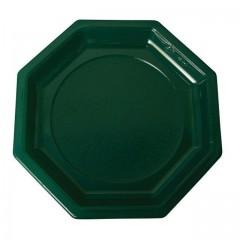 Assiette plastique octogonale verte foncée 24 cm