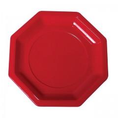 Assiette plastique octogonale 18,5 cm rouge - par 400