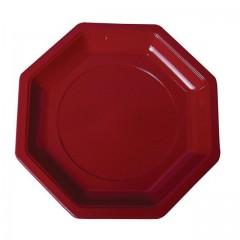 Assiette plastique octogonale 18,5 cm bordeaux - par 400