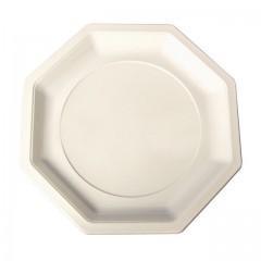 Assiette plastique octogonale 18,5 cm ivoire - par 400