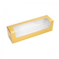 Boîte or avec fenêtre transparente pour 6-8 macarons - par 25