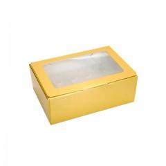 Boîte or avec fenêtre transparente pour 10 macarons - par 50