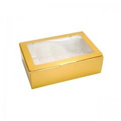 Boîte or avec fenêtre transparente pour 16 macarons - par 50