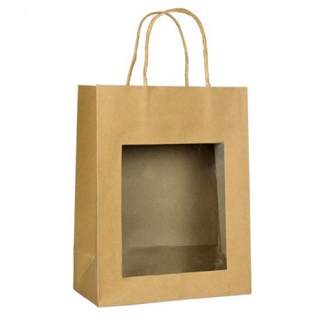 Grand sac kraft brun à poignées torsadées avec fenêtre 22 + 11 x 28 cm - par 12