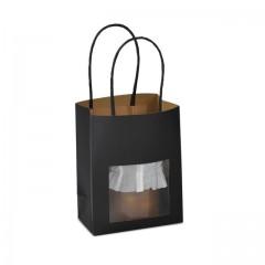 Petit sac kraft noir à poignées torsadées avec fenêtre 11,4 + 6,4 x 14,6 cm - par 25