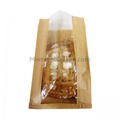 Sac à pain kraft brun à fenêtre 24 x 4 x 35 cm - paquet de 1000