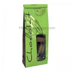Sachet SOS papier 8,5 x 5 X 24 cm vert et chocolat - par 50